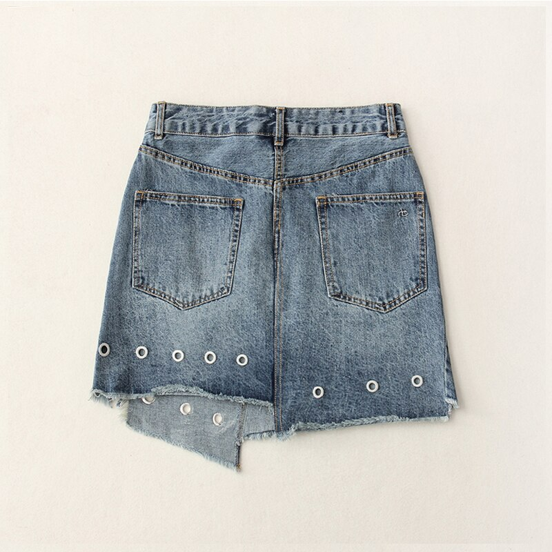 High Waist Eyelet Asymmetric Mini Denim Skirt Women Casual Novelty High Street Style Hollow Out Jeans Skirt Blue Light Wash 2