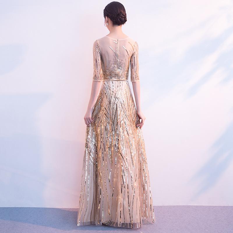 Women's Long Sequined Bling Bling Dress Glitter Longer Party Dress Elegant Rainbow Dresses Empire Waist Half Sleeve Dresses 2