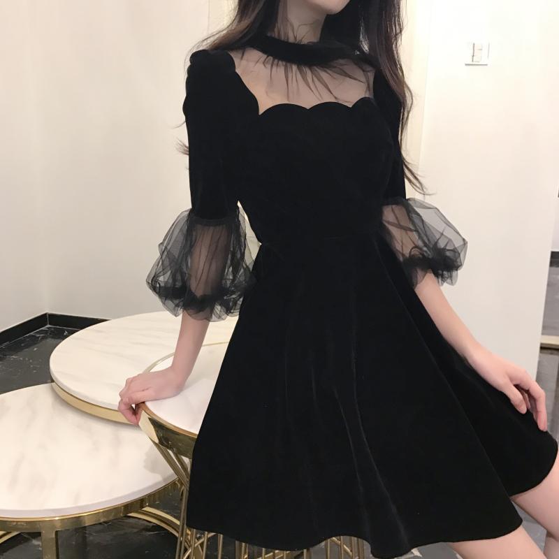 19 New Summer Dress Women Korea Chic Solid Black Ladies Mash Patchwork O-Neck Half Pull Sleeve Empire Vintage Fashion Dresses