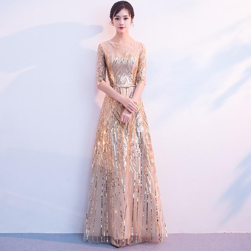 Women's Long Sequined Bling Bling Dress Glitter Longer Party Dress Elegant Rainbow Dresses Empire Waist Half Sleeve Dresses 1