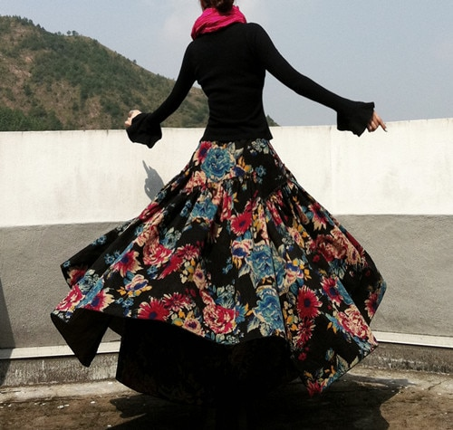 New Fashion Top Sale Long Flowing Thick Cotton Multicolor Print Skirts Bohemia Style Ethnic Print Linen Skirt 3