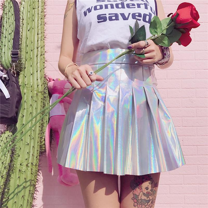 Holographic Pleated Skirts Women PU Solid Harajuku Casual Sexy Laser Hight Waist Micro Mini Short JK Skirts Women Rainbow 3