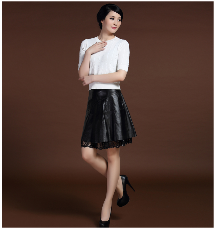 Svadilfari Wholesale New 18 Spring Skirts Solid 100% High Quality Genuine Leather Pleated Umbrella Shape Skirts For Woman 2