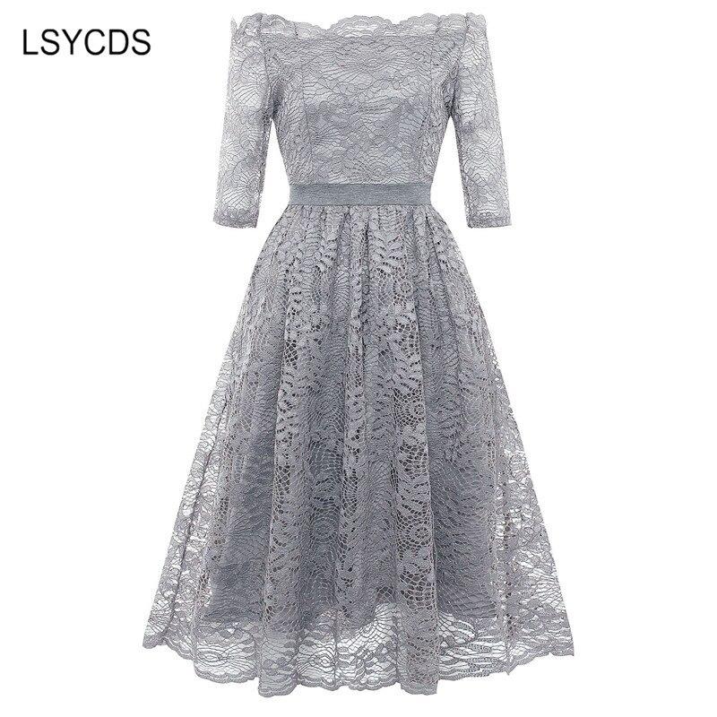 19 Autumn Elegant Lace Dress Women Plus Size Slash Neck Half Sleeve Knee Length Blue Gray Casual Party Dresses for Women 3
