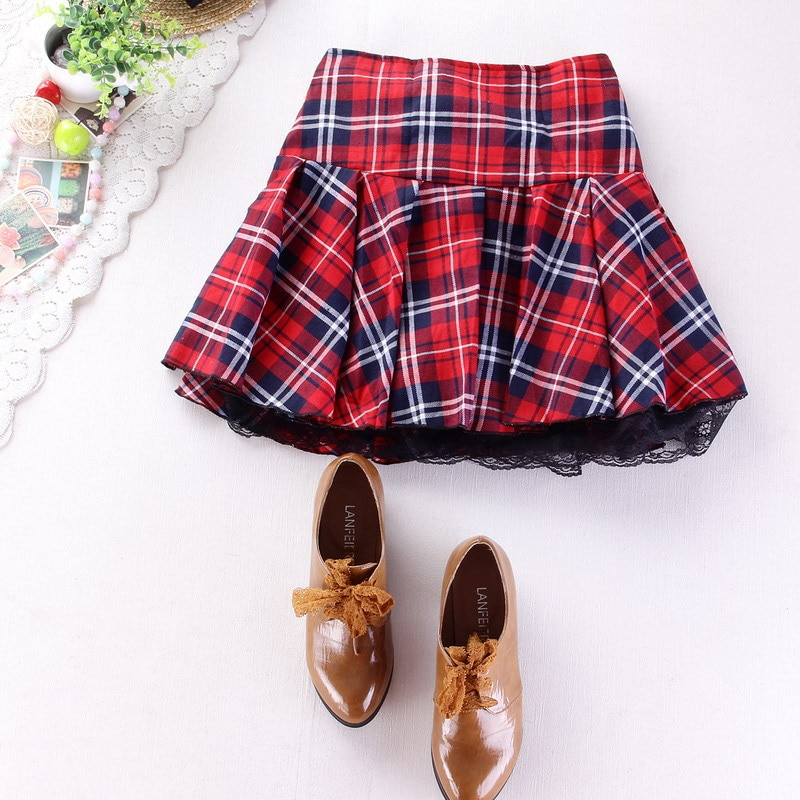 8 colors High quality school uniform skirt fashion plaid short skirt pleated lace skirt student girl Japanese preppy mini skirt 1