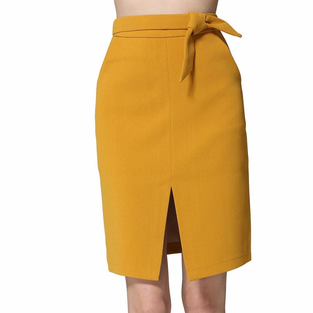 KoHuiJoo 19 Spring Autumn Women Big Bow Skirt Black Yellow Gray Solid Front Slit Skirts High Quality Slim Ladies Pencil Skirts 2