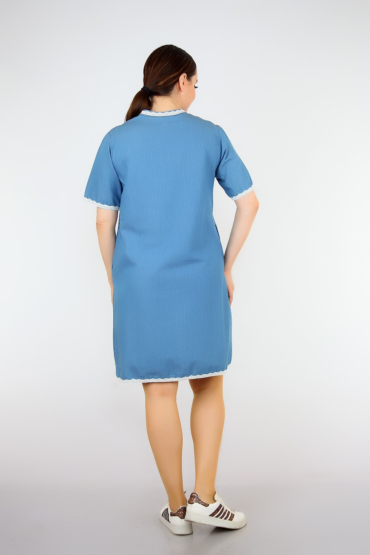 Pianoluce Women 'S Denim Lace Detail Half Sleeve Dress Blue 1387 2