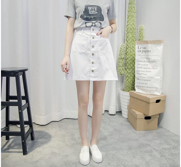 New Simple Summer Comfortable High Waist Cowboy denim button Skirt 2