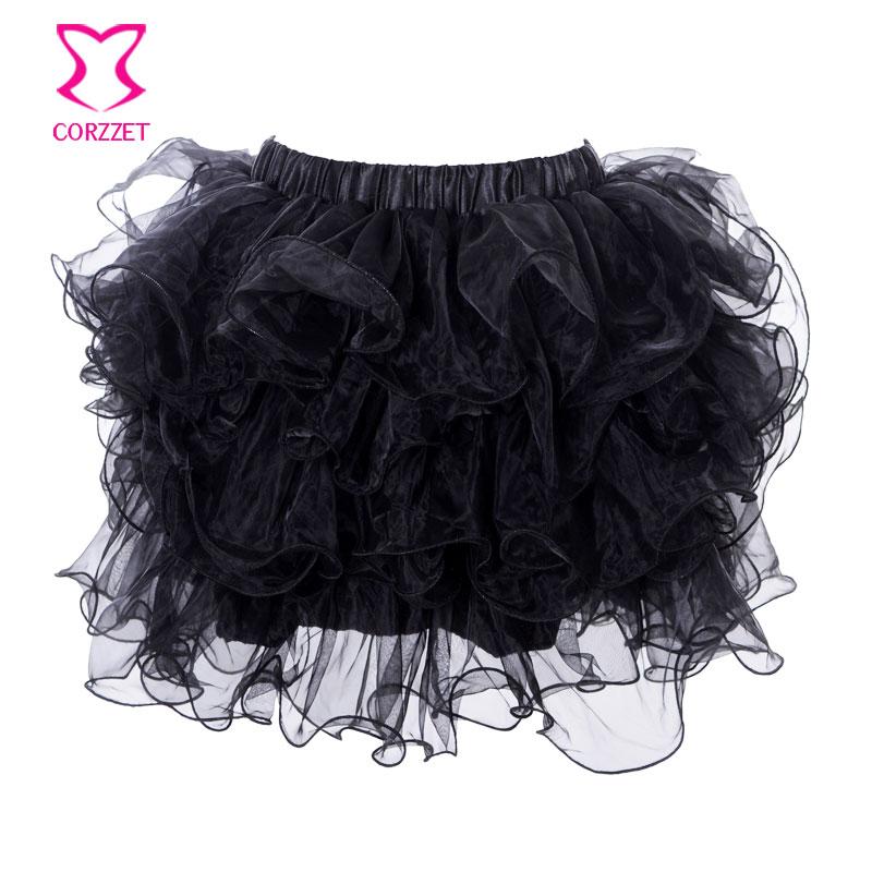 Adult Sexy Layered Ruffle Mini Tutu Skirt Women Burlesque Costume Pettiskirt Petticoats Clubwear Ball Gown Corset Underskirt 2