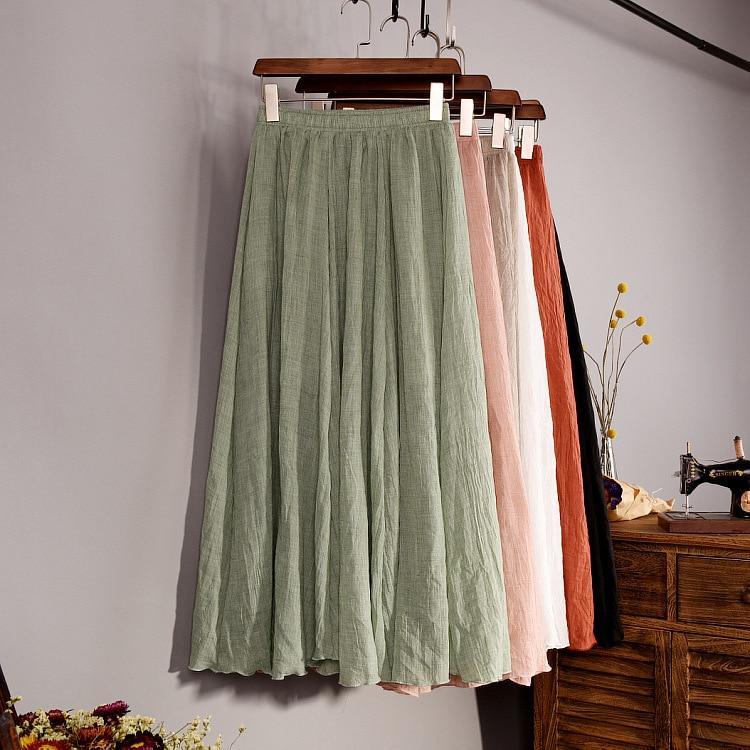 Women's Elegant 16 Color High Waist Elastic Waist Linen Pleated Long Skirts Ladies Slim Casual Skirt Saias New 18 Summer SK05 1