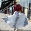 Vintage Print Elastic High Waist Korean Women Long Skirts Black White Maxi Pleated Skirt Saias Fadalas
