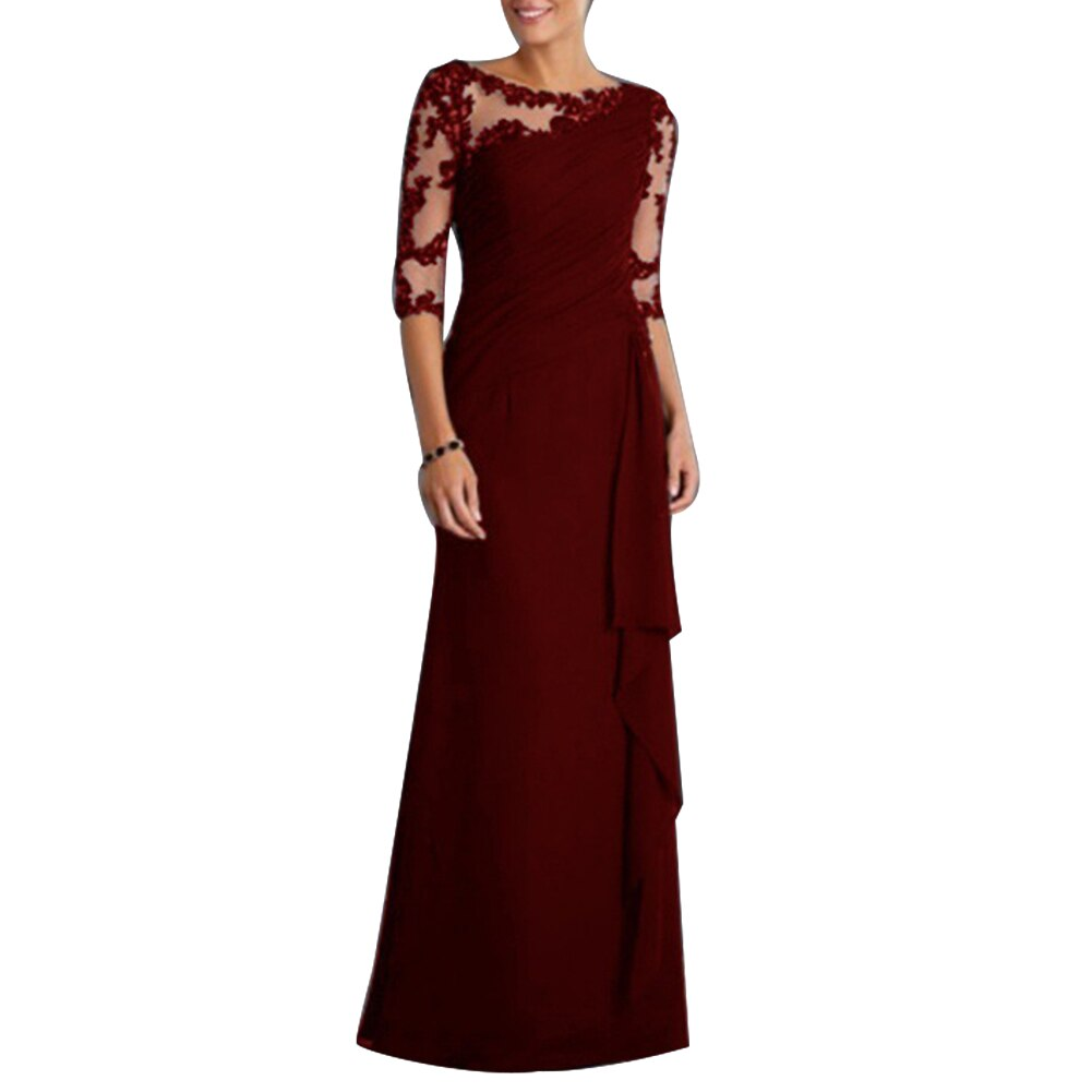 Wholesale Wedding Party See-through Lace Women's Formal Half Sleeve Pleated Maxi Dress 2
