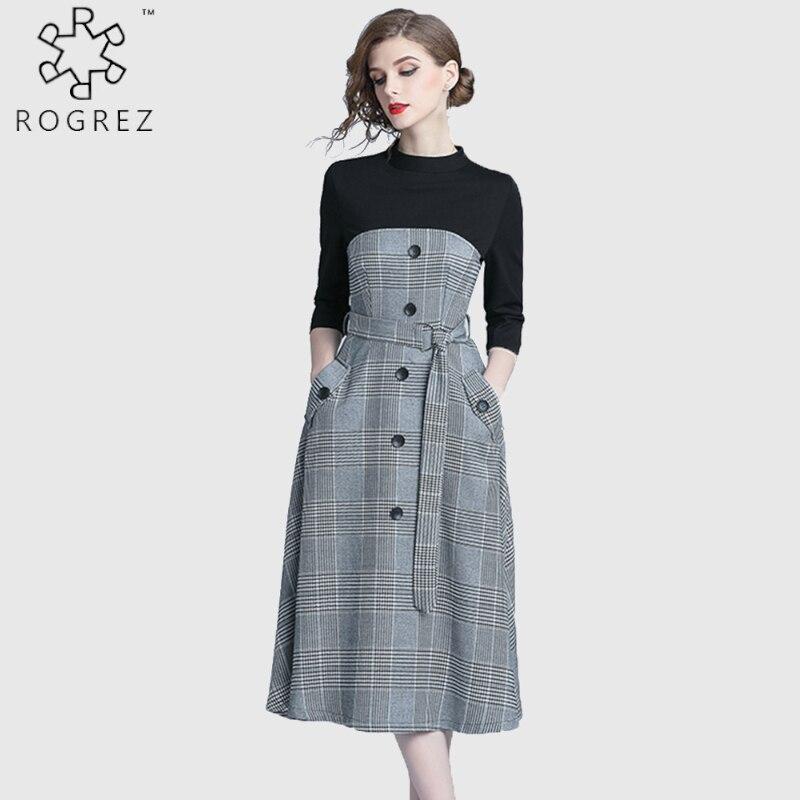 ROGREZ Grey Autumn Winter Casual Women Elegant Dress O Neck Half Sleeve Slash Slim Vestidos Office Long Dresses 1