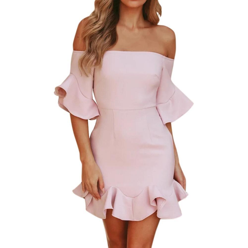 18 Spring Summer Popular Ruffled Half Sleeves Elegant Dress Bodycon Women Off Shoulder Sexy Party Dress Nightclub Short Dress 1