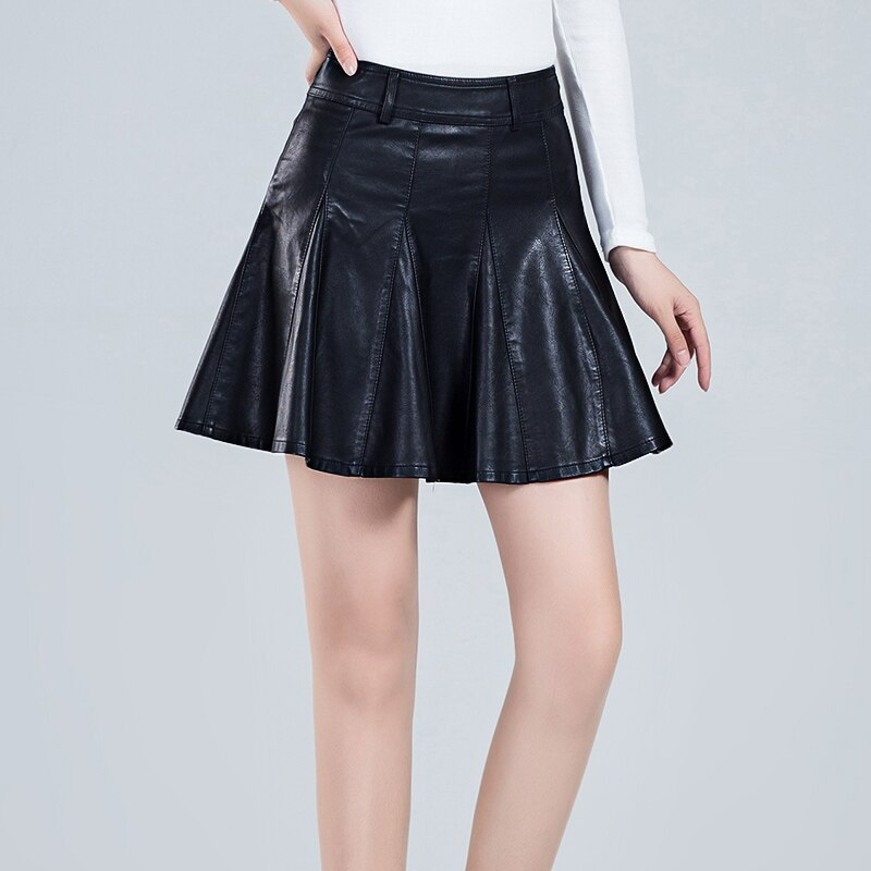 Black high waisted pleated PU skirts for women winter large size faux leather skater skirts ladies oversized mini circle skirts 2