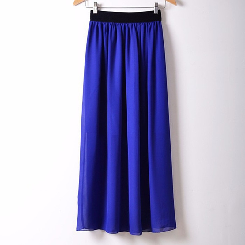 Free Shipping New Brand Designer Hot Sale Candy Colors High Quality Sexy Long Chiffon Skirt Pink Blue Black Red White Green C003 1