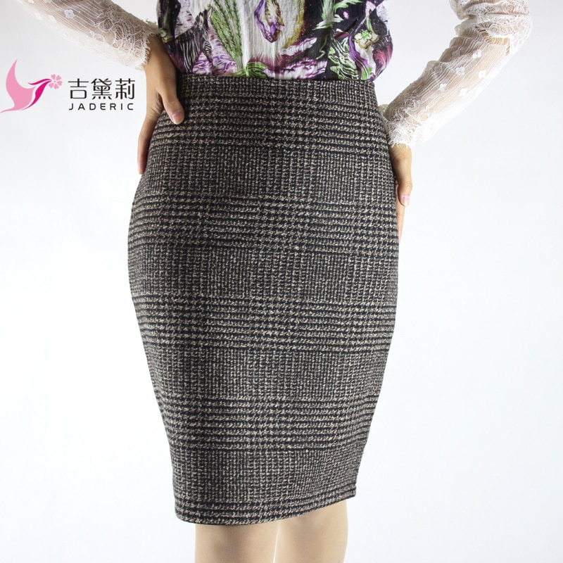 Jaderic Vintage Bodycon Skirt High Waist Women Knee Length Pencil Skirt Plaid OL Office Elegant Skirts Womens 18 2