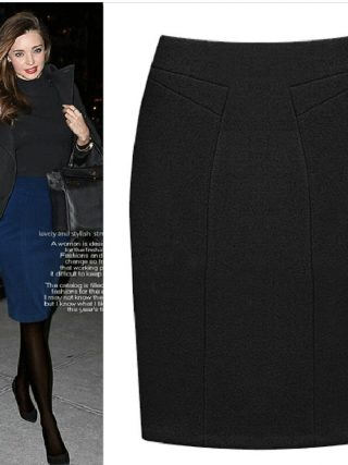 Plus Size Female Knee Length Slim Midi Skirt 19 Autumn And Winter Fashion High Waist Woolen Women Casual Pencil Skirts