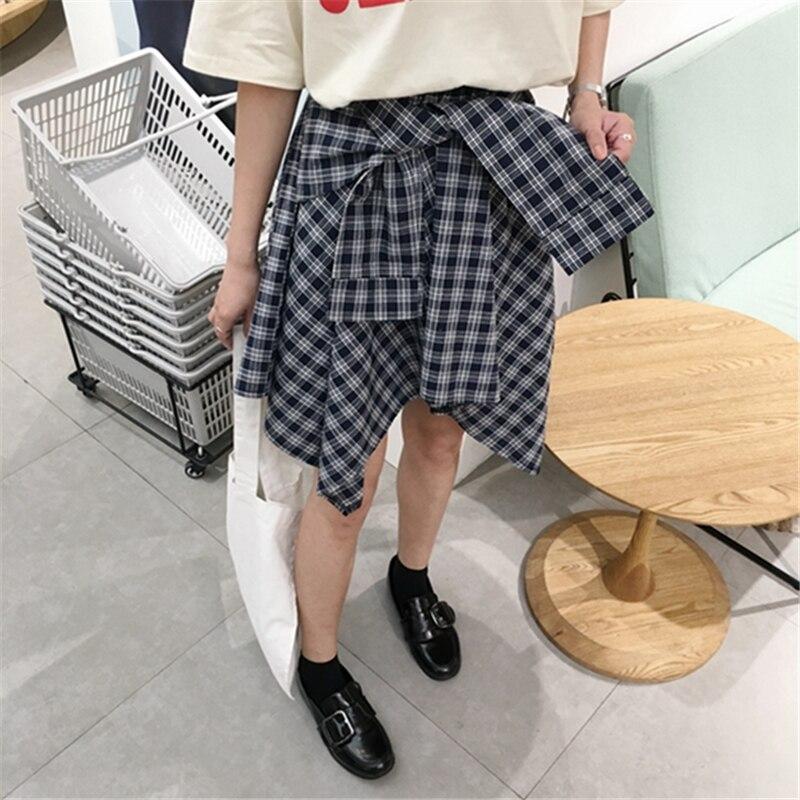 HziriP Cotton Fake Two Pieces-shirts Plaid Skirts Women Casual Stretch Waist Summer Midi Skirt 17 Fashion Asymmetrical Skirts 3