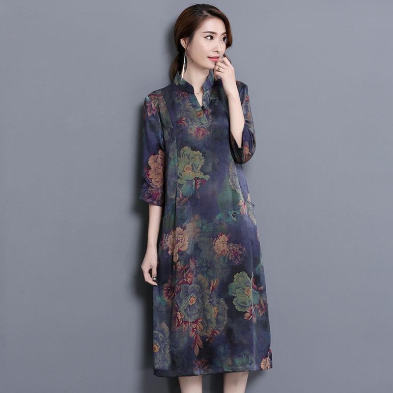 M-4XL Large size Middle-aged Women's Dresses Summer  Elegant Slim Dress Stand neck Half sleeve Printed Dress Vestidos DAN029 3