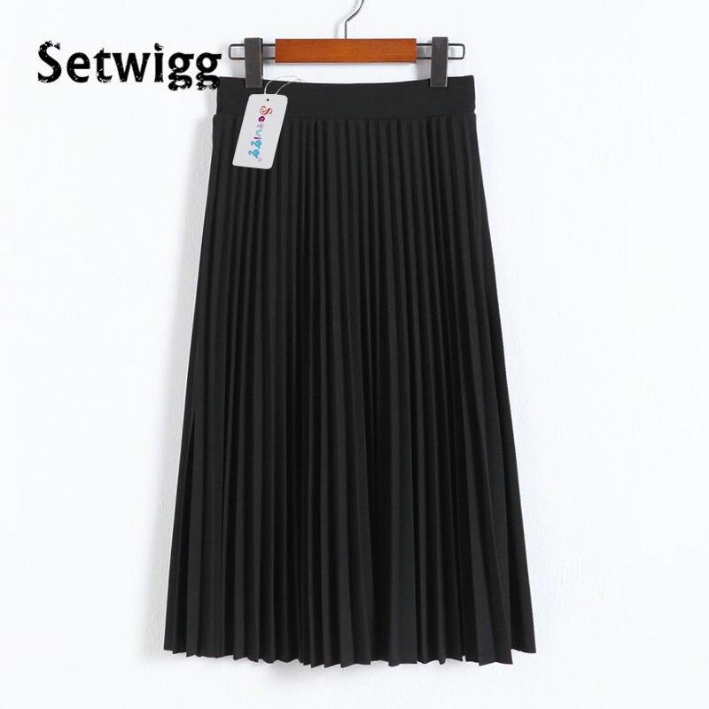 SETWIGG Spring Thick Chiffon Pleated Long Skirt Women Stretch Waist Grinding Pink Calf-length Pleated A-line Summer Skirt SG019 2
