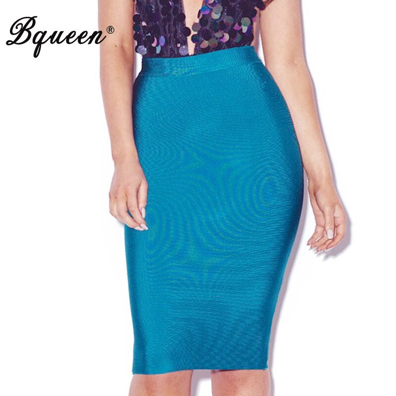 Bqueen 19 New Women's Bandage Skirt Summer Fashion Knee-length Solid Color Slim Bodycon Skirt Wear To Work Fashion Hot