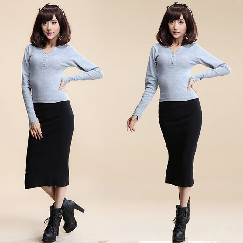 16 Autumn Winter Women Skirt Wool Rib Knit Long Skirt Faldas Package Hip Split Skirts D919 2