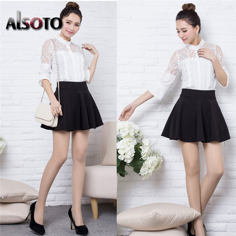 ALSOTO Winter and Summer style Brand women skirt elastic faldas ladies midi skirts Sexy Girl mini short skirts saia feminina 2