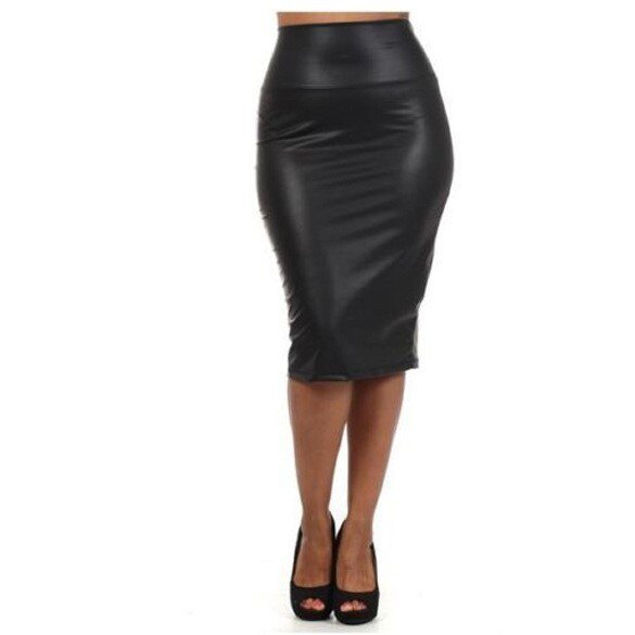 Bohocotol 19 summer women plus size high-waist faux leather pencil skirt black leather skirt S/M/L/XXXL Drop shipping 2