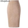 Neophil 19 Winter Women Suede Midi Pencil Skirt High Waist Gray Pink XXL Sexy Style Stretch Wrap Ladies Office Work Saia S1009