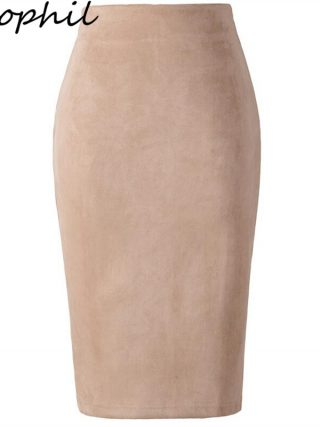 Neophil 19 Winter Women Suede Midi Pencil Skirt High Waist Gray Pink XXL Sexy Style Stretch Wrap Ladies Office Work Saia S1009