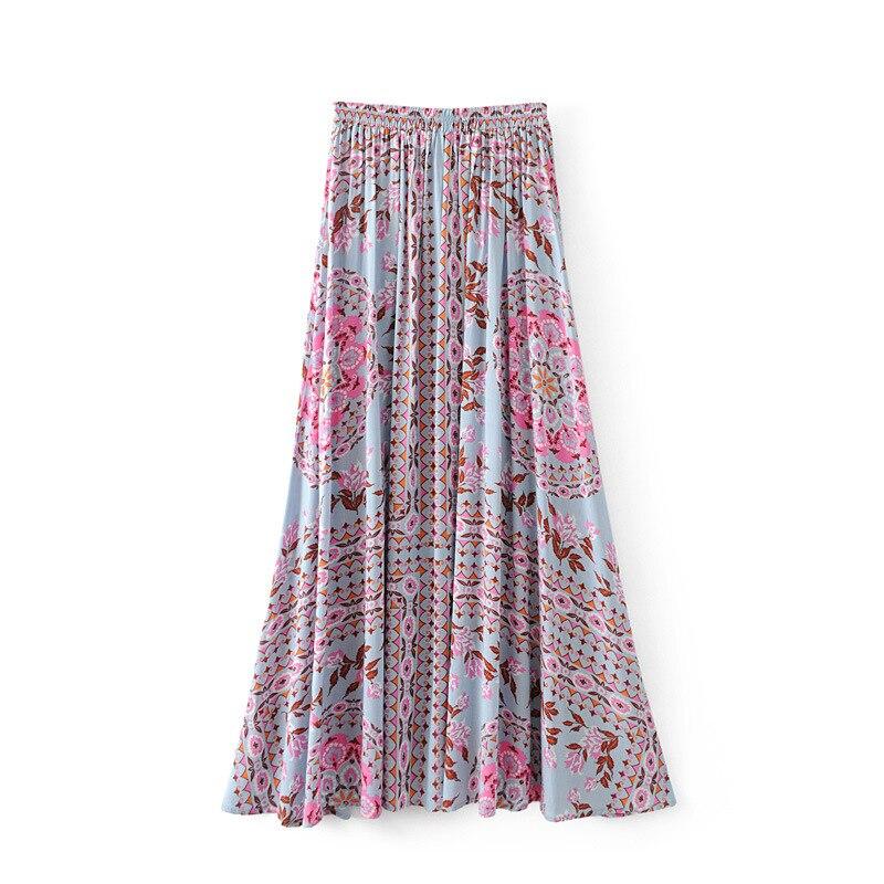 19 Floral Print Summer Women's Skirt Bohemian Elastic Waist Buttons Tassel Belt Long Maxi skirts Brand Clothing Female Saia 2