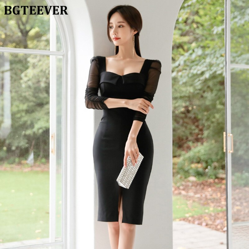 BGTEEVER Elegant Black Square Collar Sheath Women Dress Front-split Half Sleeve Female Dress Pencil Bodycon Vestidos Femme 19