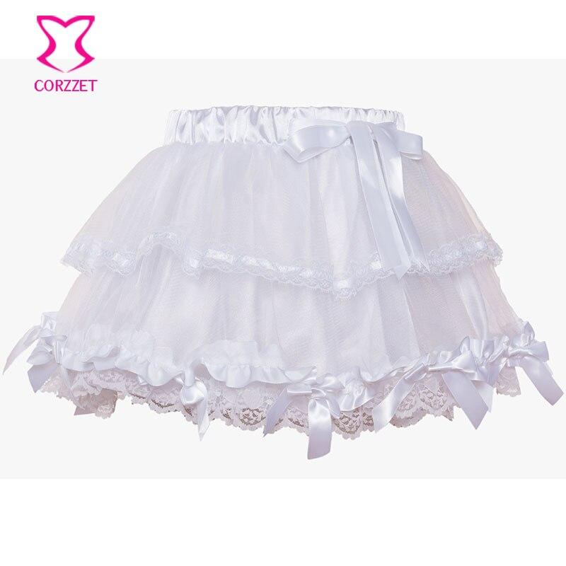 Corzzet White Lace Wedding Tu Tu Skirt Burlesque Women Lolita Tutu Party Dance Adult Skirt Performance Cloth 2