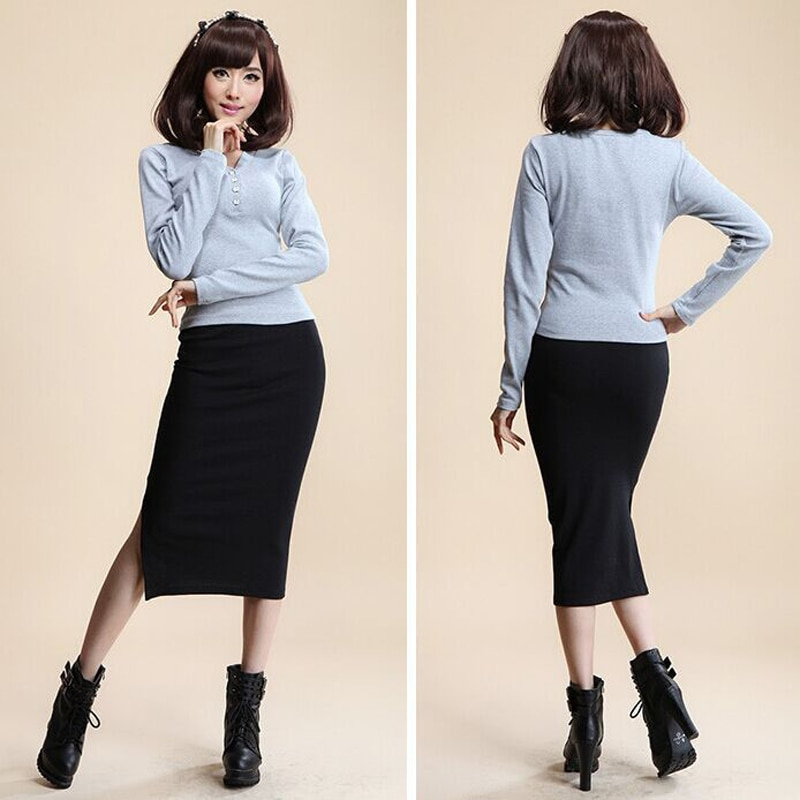 16 Autumn Winter Women Skirt Wool Rib Knit Long Skirt Faldas Package Hip Split Skirts D919 3