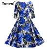 Tonval Blue Flower Print Retro Dress 18 Vintage Women Pleated Dress Summer Half Sleeve Party Backless Floral Dresses