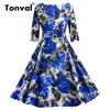 Tonval Blue Flower Print Retro Dress 18 Vintage Women Pleated Dress Summer Half Sleeve Party Backless Floral Dresses