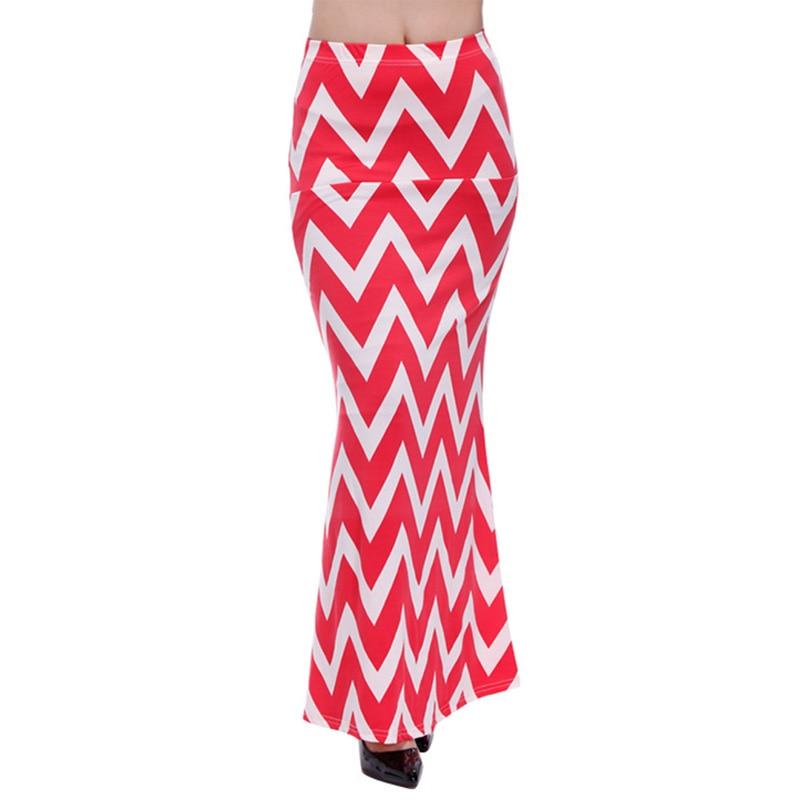 ACEVOG Brand Women Maxi Long Skirt Fashion Ladies Geometric Pattern Casual Stretch Skirt Saia Feminina 4 Seasons 2