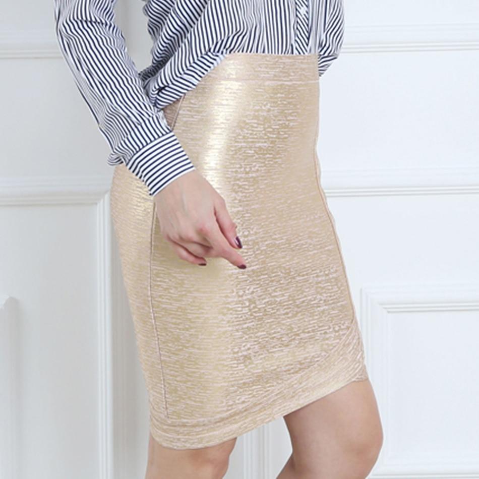 Women gold foil bandage skirts zipper asymmetric rayon spandex mini sexy bodycon pencil skirt HL for nightclub fashion HL410 3