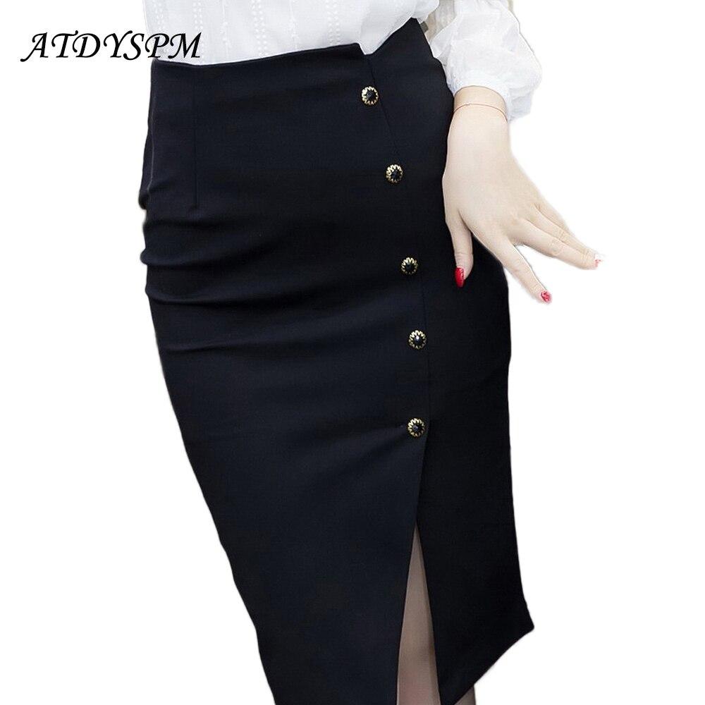 Elegant Women Vintage Office Lady OL Skirts High Waist Buttons Slit Pencil Skirts Women Plus Size S-5XL Stretch Midi Skirts