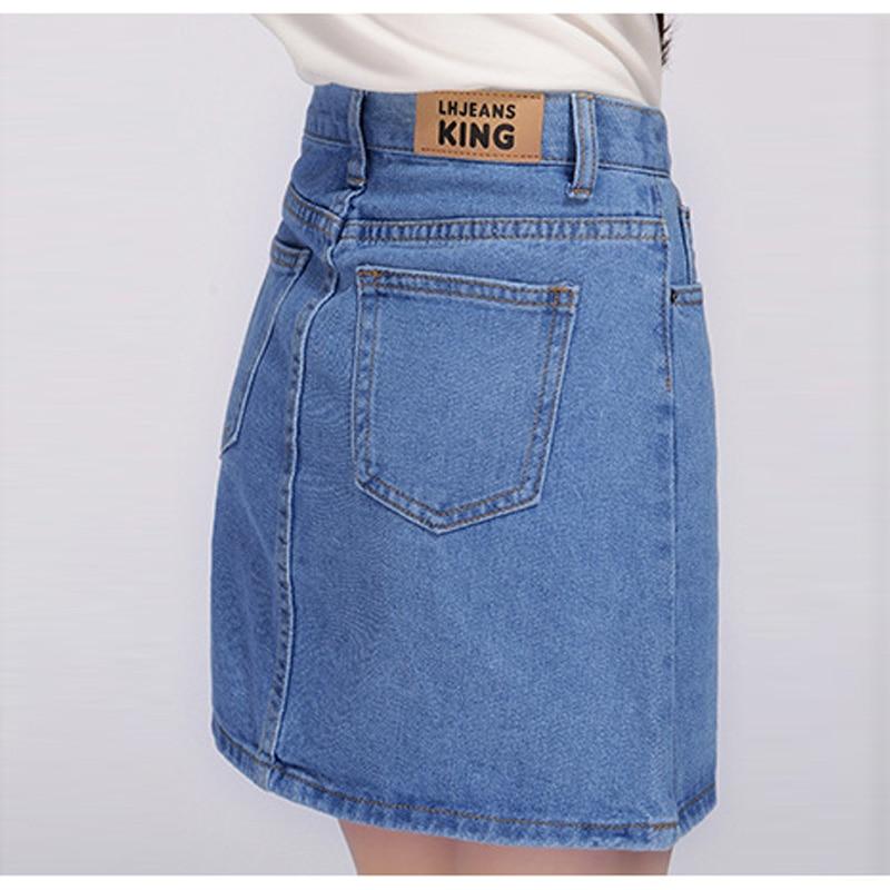18 Denim Skirt Women Winter Autumn Vintage Casual Female A-Line Jeans Ladies Office Mini Skirt Saia Plus Size S-3XL 3 Colors 2
