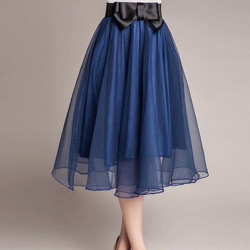 Hot sale 16 trend Summer Style Skirts bust Tulle Skirt Chiffon High Waist Tutu Skirts womens Mini Skirt Saias Femininas