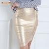 Gold foil bandage skirts zipper asymmetric rayon spandex mini Women Gold foil bandage skirts zipper asymmetric rayon spandex mini sexy bodycon pencil skirt HL for nightclub fashion HL410