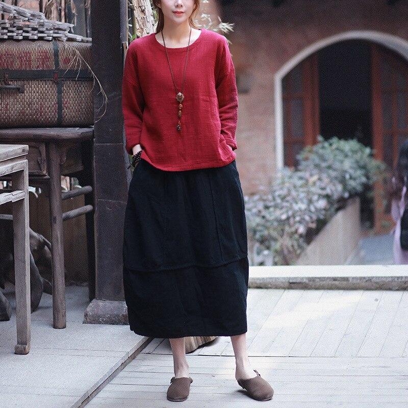 Linen skirt New Vintage and Retro Ethnic Elegant Skirts Solid Long Red Black Skirt Bud Hem Cotton Women Patchwork Saia Femme 2
