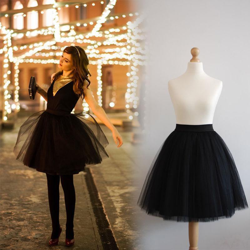 FOLOBE 7 Layers Ballet Dance Midi Tutu Tulle Skirts Women Skirt Lolita Petticoat faldas mujer saias Jupe TT-S 1