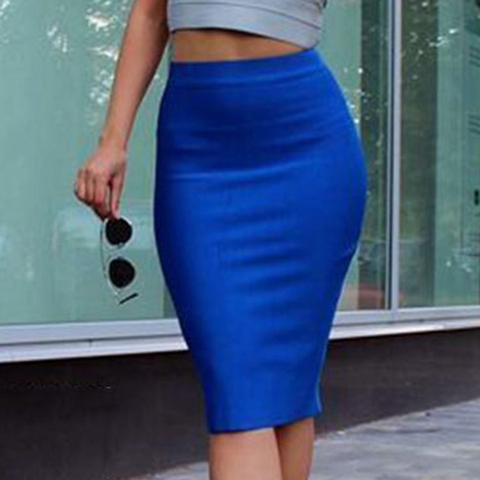 19 Stretchy Elastic Women Knee Length Celebrity Bandage Skirts Sexy Slim Solid Color Pencil Skirt Drop Shipping HLS113