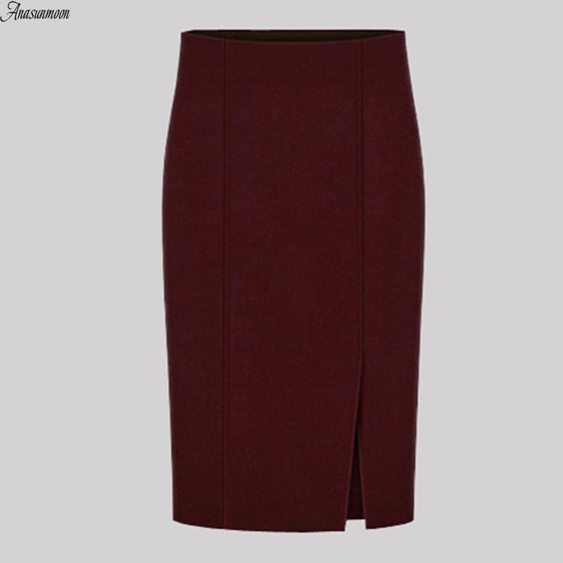 17 Autumn Winter Fashion Women Pencil Skirts Sexy Cotton and Wool Knit Slim High Waist Knee-Length Skirt Jupe Femme Female 50 2