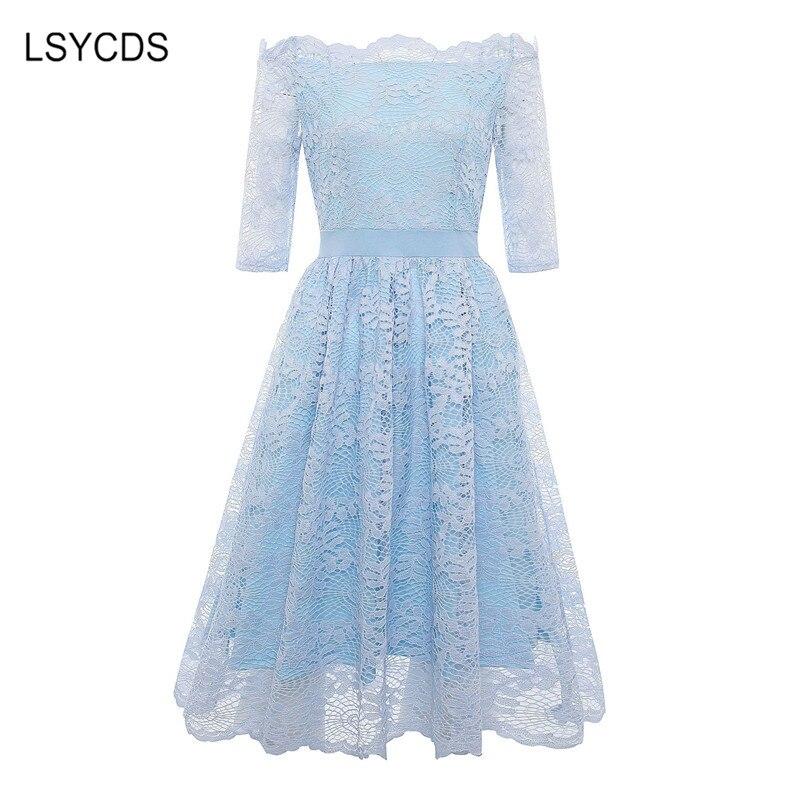 19 Autumn Elegant Lace Dress Women Plus Size Slash Neck Half Sleeve Knee Length Blue Gray Casual Party Dresses for Women