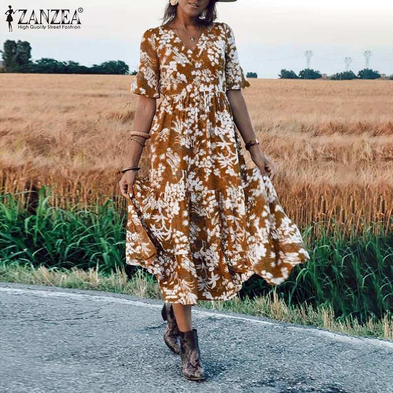 ZANZEA Women Midi Dress Elegant Ladies Half Sleeve Floral Print Dresses Bohemian Mid Calf Vestidos Party Evening Summer Sundress 2