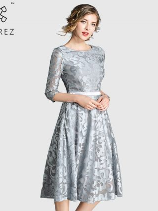 ROGREZ Blue Silver Elegant A Line Women Dress Half Sleeve Knee Length Floral Midi High Waist Party Dresses Autumn